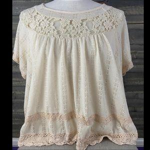 Elegant Free People knit/lace top